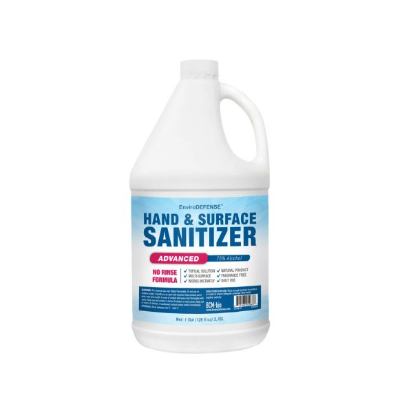 A bottle of hand & surface sanitizer with blue and red label