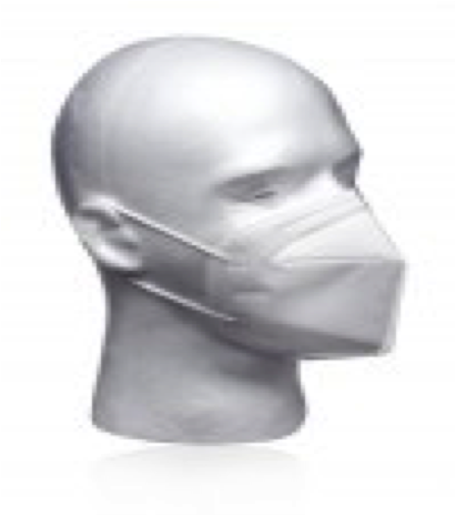 Image of white facemask on a model