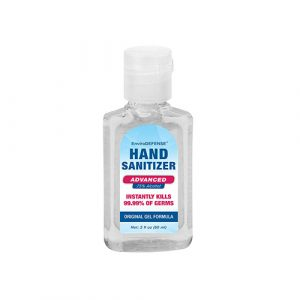 A squared bottle of hand sanitizer with blue and red label