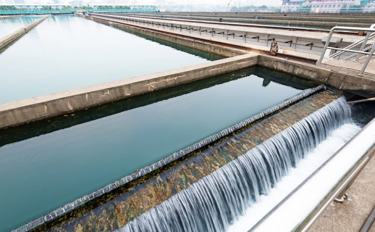 Large tank of water showing wastewater